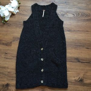 Free people gray wool cardigan vest S